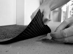 keys under the door mat